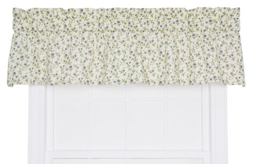 Ellis Curtain Marcia Floral Vine Print Tailored Window Treatment Valance, 70 by 12-Inch, Blue (Window Inch Curtains 70)