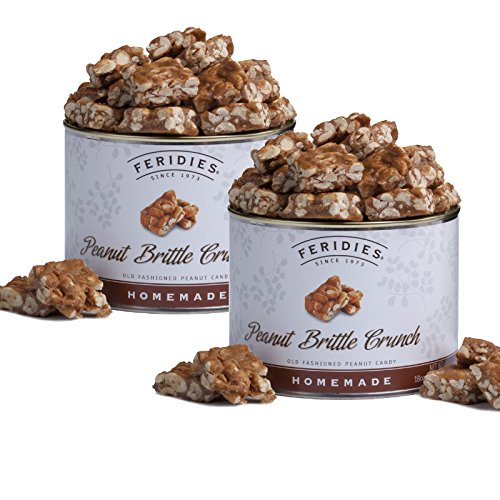 FERIDIES Homemade Peanut Brittle Crunch - 2 Pack 18oz Vacuum Sealed Tins - Hostess, Birthday, Anniversary, Sympathy Gifts or Veterans Day by FERIDIES