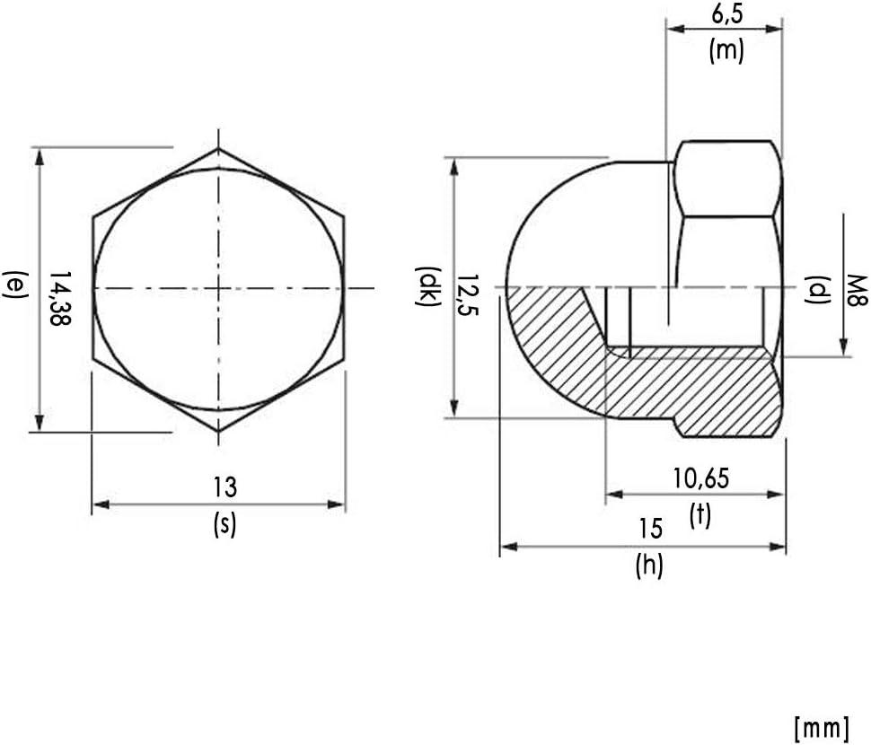 20x Hutmuttern M8 Edelstahl A2 metrisch Sechskant Befestigung bauen DIN1587