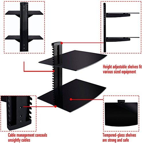 2 Tier 2 Dual Glass Shelf Wall Mount Bracket Under TV Component Cable DVR/DVD