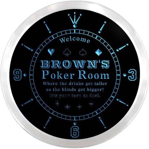(ncx1005-tm Brown's Poker Room Casino Custom Name Neon Sign Clock)