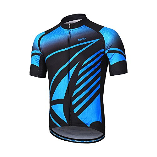 ARSUXEO Men's Cycling Jersey Short Sleeves Mountain Bike Shirt MTB Top Zipper Pockets Reflective ZY843 S ()