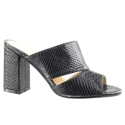 Angkorly - Chaussure Mode Mule Sandale femme peau de serpent croco Talon haut bloc 9 CM - Noir