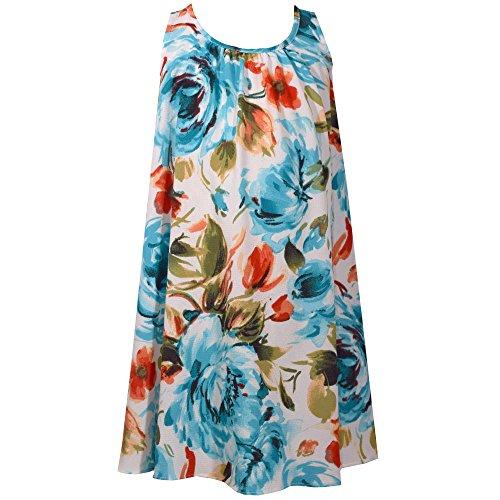 Sundress Jean Bonnie - Bonnie Jean Sleeveless a-Line Trapeze Party Dress Color Turquoise Floral Size 14