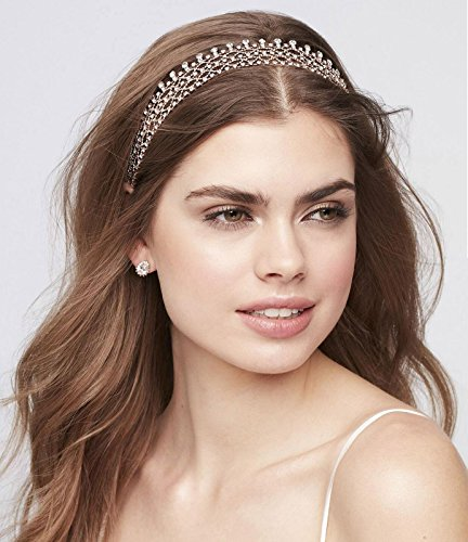 SWEETV Rhinestone Bridal Headband Necklace - Rose Gold Crystal Waist Chain for Wedding Prom Brides Bridesmaid Women and Girl ()