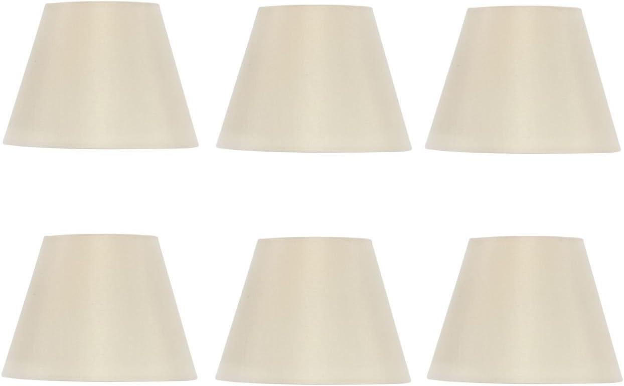 Upgradelights Eggshell Silk 6 Inch European Drum Chandelier Lamp Shades Set of 6 3.5x6x4.5