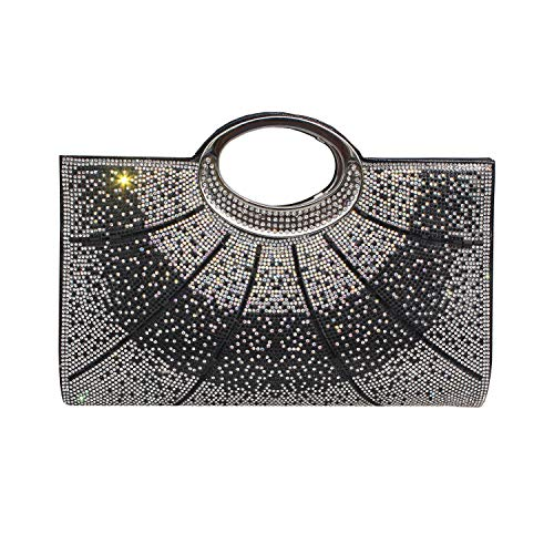 Gesu Women Clutches Rhinestone Clutch Evening Bag Glitter Clutch Purse Wedding Bridal Prom Handbag Black (Princess Purses Party)
