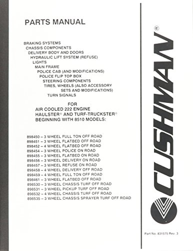EZGO 831574 2005 Parts Manual for Cushman the Power Train with Air Cooled 222 Engine