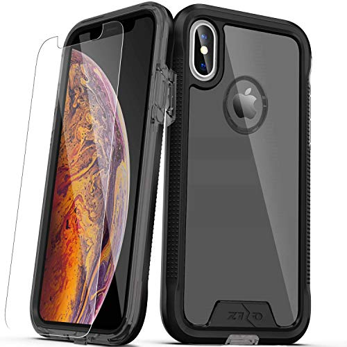 (Zizo ION Series Compatible with iPhone Xs Max case Military Grade Drop Tested with Tempered Glass Screen Protector (Black & Smoke))