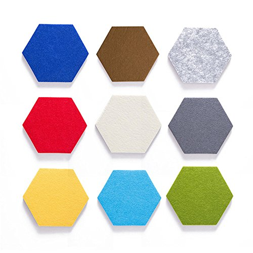 Hexagon Cork Board/Pin Board, Colorful Foam Wall Tiles Hexagon Type Memo Board for Wall Decoration Home Decor (Combination 9pcs Set)