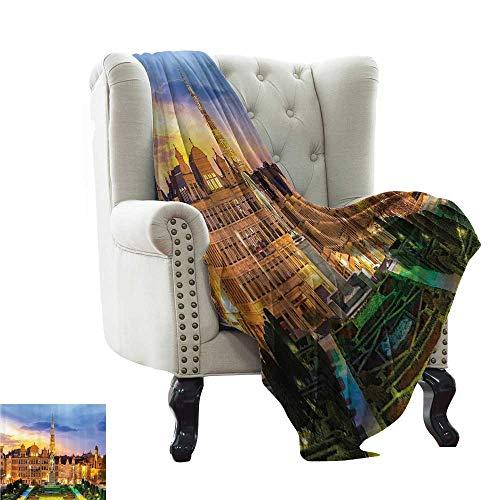 homehot Soft Blanket Queen Bohemian Boho Yoga Decor,Natural Peacock Feather Batik Hippie Mandala Medallion,Teal Orange Turquoise Mustard White 62