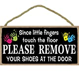BEROSS Hanging Shoes Off Sign - Large 6 x 12 inch Decorative Wood Sign Wall Art Home Decor Since Little Fingers Touch The Floor Please Remove Your Shoes at The Door