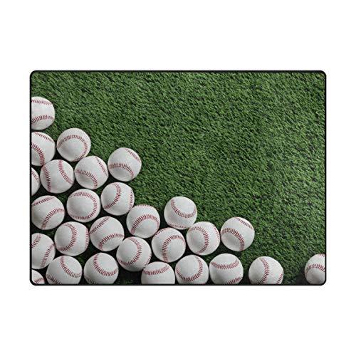 Tigers Small Baseball Rug - Area Rugs 63 x 48 Inch Grassland Baseball Pattern Floor Carpet Mat Doormats for Living Room Home