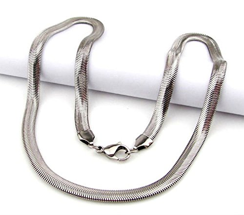 (Men Women Silver Plated Necklace,6MM Snake Pendant Necklace Chain (18''))