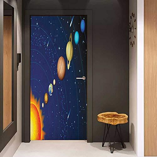 - Wood Door Sticker Space Solar System with Sun Uranus Venus Jupiter Mars Pluto Saturn Neptune Image Easy-to-Clean, Durable W23 x H70 Dark Blue Orange