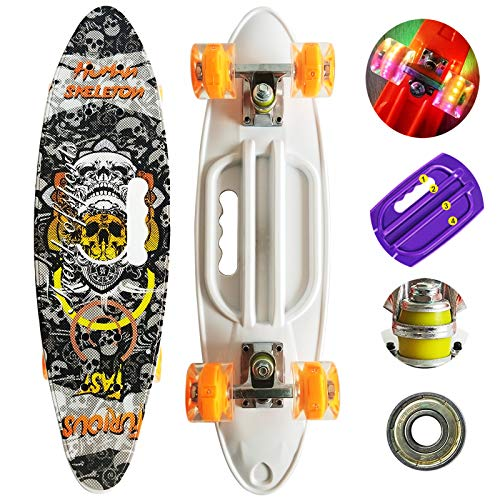 Runyi-222427-Inches-Mini-Cruiser-Skateboard-Complete-for-Beginners-ProfessionalPlastic-Cruiser-with-Colorful-LED-Light-PU-WheelsGift-for-Boys-Girls-Kids-Youths-Teens-Adult