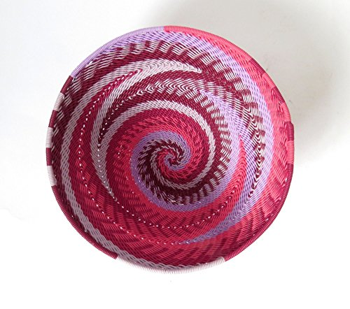 African Zulu woven telephone wire bowl – Small round - Pink - Gift from Africa