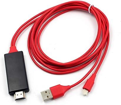 2m 8Pin para iOS Cable HDMI Adaptador HDTV TV Cable Digital Cable USB convertidor Cable a HDMI: Amazon.es: Electrónica