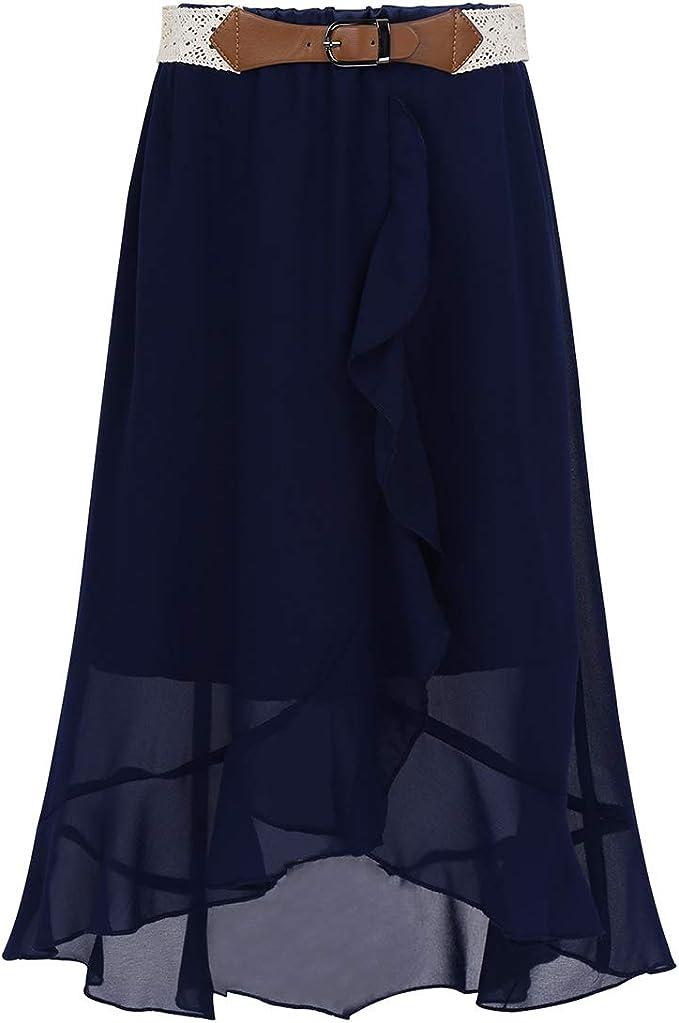 inhzoy - Falda de Noche para niña, de Muselina de Seda, asimétrica ...