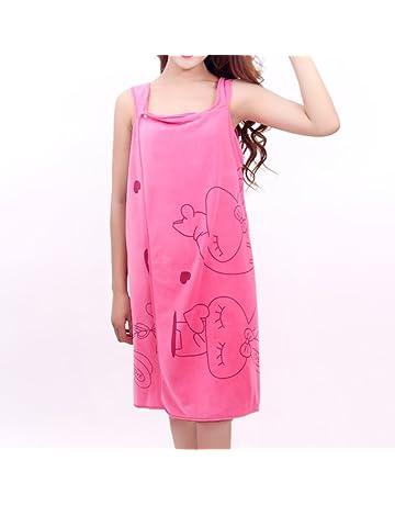 Hinmay - Albornoz para mujer, toalla de baño, suave y portátil, absorbente de