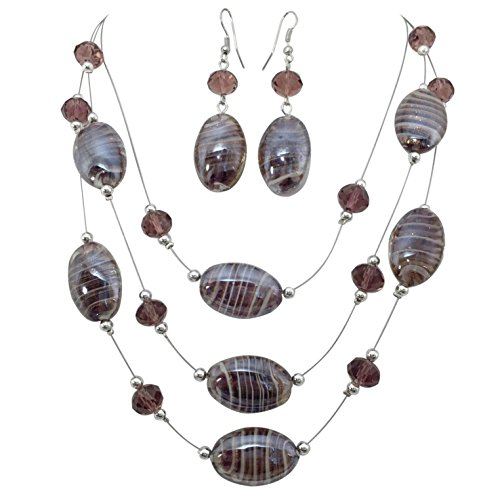 (Oval Swirl Glass Multi Row Beaded Illusion Wire Lightweight Necklace and Dangle Earring Set (Purple))