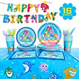 Baby Shark Party Supplies Tableware Serves 16 for Kids Birthday Decorations,Include Dessert Plates Banner Cups Napkins Forks Tablecloth