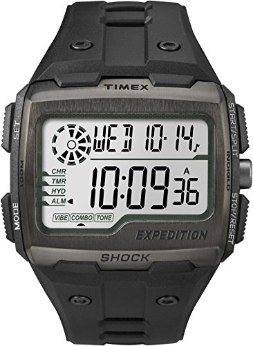 Timex TW4B02500 Men Grid Shock LCD/Black Dial with Black Resin Strap Watch ()
