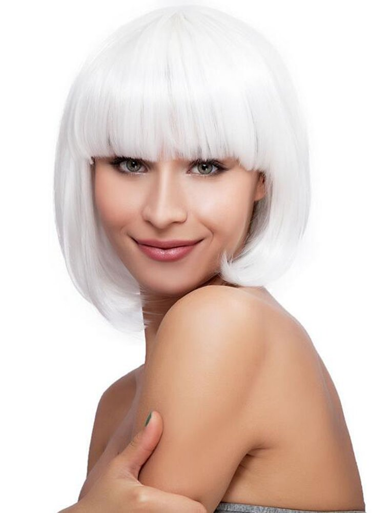 Diy-Wig Short White Bob Synthetic Wig Neat Bang Cute Hairstyle for Funny Halloween Cosplay (White)