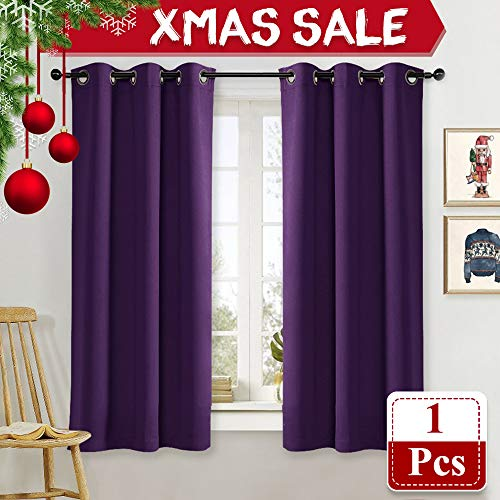 NICETOWN Blackout Room Darkening Window Curtain Triple Weave Home Decoration Solid Ring Top Blackout Room Darkening Drape for Bedroom (Single Panel, 42 x 63 Inch, Royal Purple)