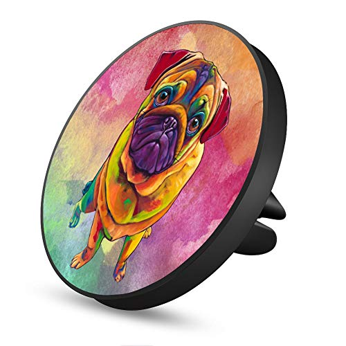 Colorful Painting Pug Magnetic Mount, AsaHicks Car Phone Magnetic Mount Air Vent Cell Phone Holder Compatible with iPhone X/8/8 Plus/7/7 Plus/6s Plus, Samsung Galaxy, LG, Nexus Mini Tablets and More