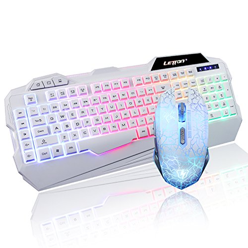 Letton 7-Color LED Backlit Wired Gaming Keyboard and Mouse Combo Bundle (White)