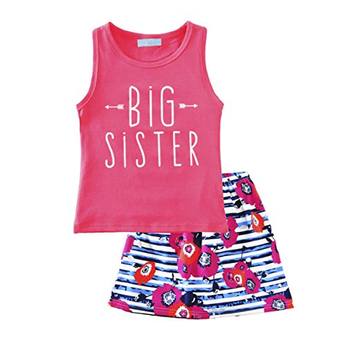 Short Skirt Clothes Set Newborn Infant Baby Girls Outfits Big Sister Letters Print Sleeveless Pullover T-Shirt