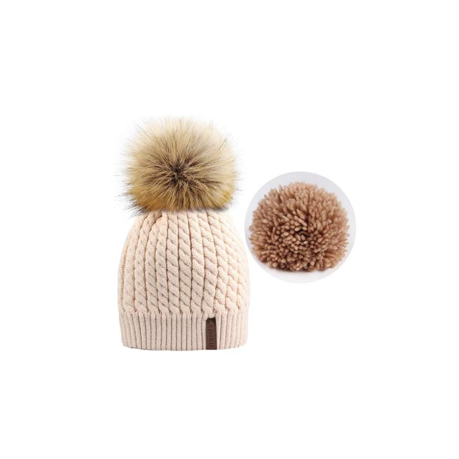 FURTALK Women Winter Knitted Pom Beanie Fur Hat Big Pom Pom Hat Women Crochet Knit Bobble hat