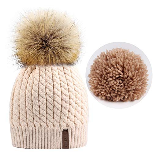(FURTALK Women Winter Knitted Pom Beanie-Fur Hat Big Raccoon Pom Pom Hat Women Crochet Knit Bobble)