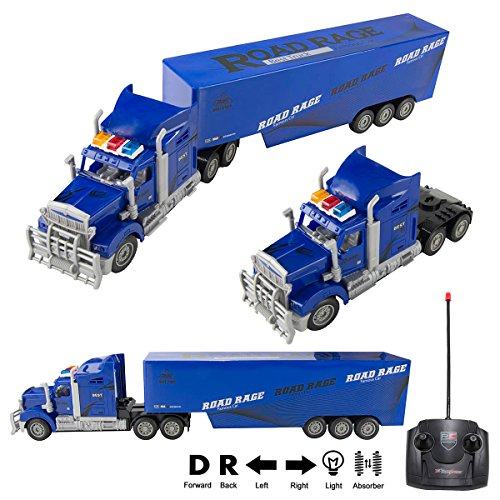 RC Truck 1:15 Scale Radio Remote Control Transporter Big Rig Semi Truck Super Duty Mighty Tractor Trailer with Lights & Sounds, Battery Operated RC Full Cargo Carrier, Great Gift for ()
