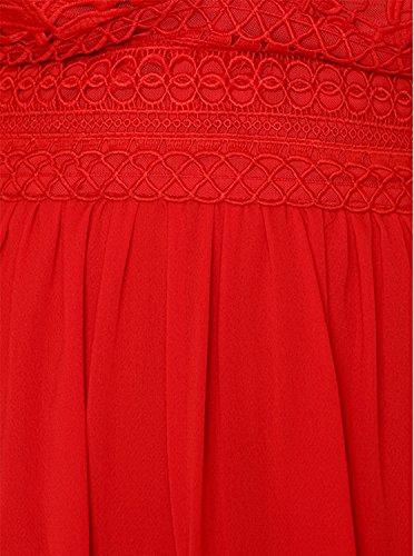 Pizzo Estivo Mini ONE V a Rosso Festa Abito Vestito Donna Abito The Spalline Aron Corto da Abito Senza Sexy Scollo 6Iw8qv5x