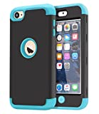 ipods for kids - iPod Touch 6 Case,iPod Touch 5 Case Dailylux 3in1 Hybrid Impact Resistant Shockproof Hard Case with Soft Silicone Protective Cover for Apple iPod Touch 5th 6th Generation Girls/Boys-Black+Blue