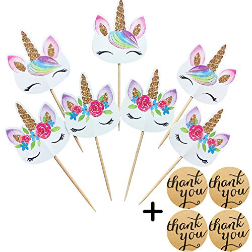 Kapoklife 1 11 48 Rainbow Cupcake Picks, Double Sided Unicorn Cake Toppers with 24-Pack Thank You Stickers, Birthday Baby Shower Party Decoratio, 1