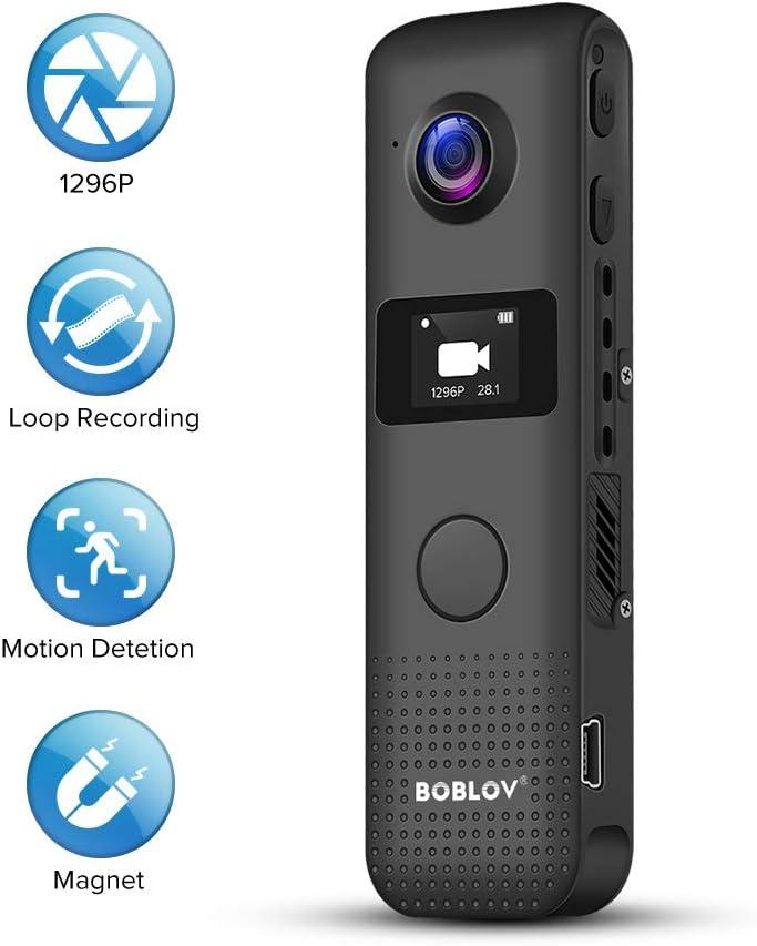 Boblov Mini caméra Full HD 1296P avec écran LED Sony Capte