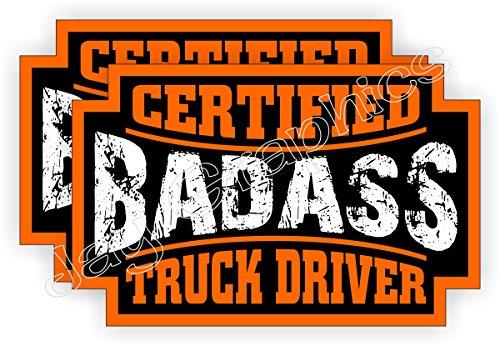 (2) Badass TRUCK DRIVER Hard Hat Stickers | Bad Ass Motorcycle Helmet Decals | Laborer Foreman Bossman Worker Construction Trucker Semi Dump Truck Labels Badges