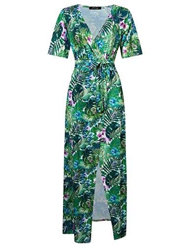 MODETREND Mujer Vestido Fiesta Largo de Manga Corta Deep V-Neck Vestidos Playa Boho Chic Verde