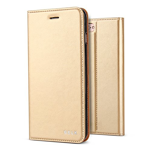 iPhone 7 Case, BELK [Simple Retro Style]Handmade Soft Leather Flip Folio Slim Wallet Cover Case[Magnetic Closure][Credit Card Slot][TPU Bumper][Kickstand]For iPhone 7 4.7 Inch - Golden