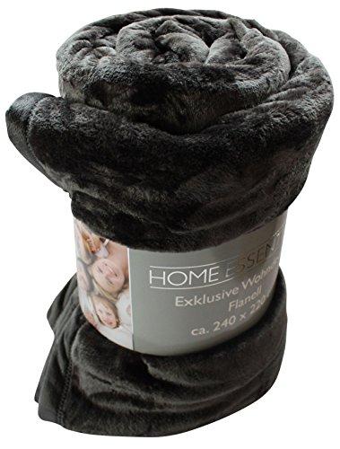 Premium Soft Wohndecke ca. 240 x 220 cm Farbe: anthrazit unifarben dunkelgrau exklusive XXXL Mikrofaser Microfaser Decke Flanell mit Einfassung Kuscheldecke Tagesdecke Sofaüberwurf