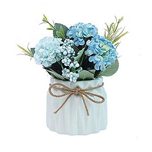 Pawaca Artificial Flower Ceramic Vases - Silk Flowers in Vase - Creative Ceramic Basin Hydrangea Flower Bouquet Pot Flowerpot Home Living Room Wedding Party Garden Decor