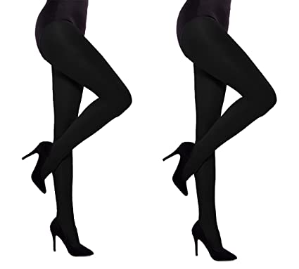 4dbfaf0f9 Thick Opaque Women Tights 60 denier Aurellie - 2 PACK Black  Amazon ...