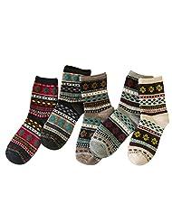 Surker Women 5 Pairs Retro Pattern Cotton Socks