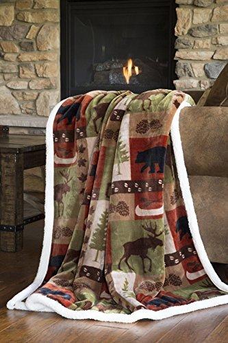 Carstens Patchwork Lodge Soft Sherpa Plush Throw Blanket, (Blanket Comforter Throw)