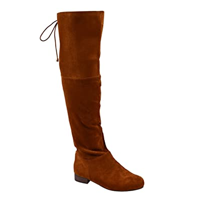 9a5419d124d9 ESSEX GLAM Womens Tan Faux Suede Over The Knee Low Heel Boots 5 B(M