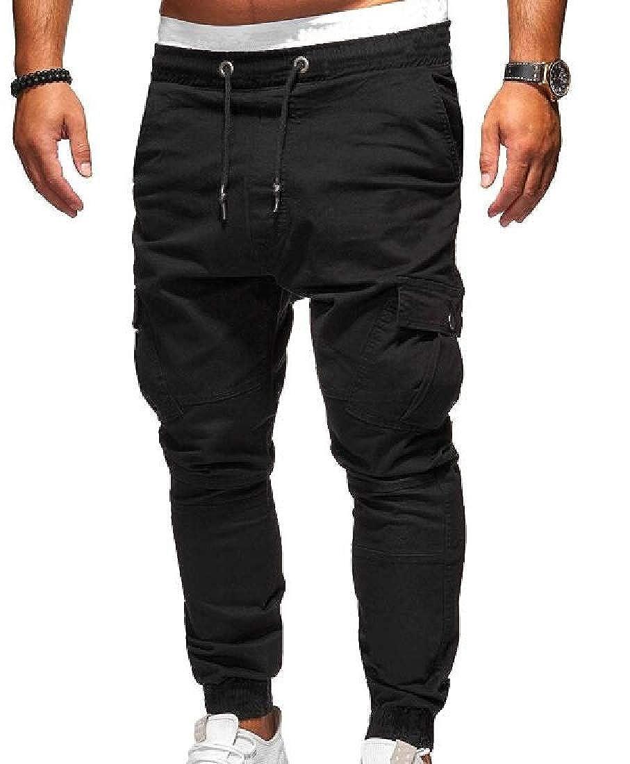 ARTFFEL Men Solid Color Elastic Waist Sports Slim Fit Drawstring Fashion Jogger Lounge Pants