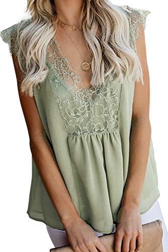 LEANI Women's Lace Cami Tank Top Sexy Sleeveless V Neck Semi Sheer Mesh Blouse Tunic (Light Green, X-Large)